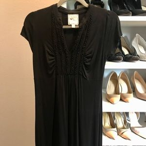 Black casual dress with ruffles